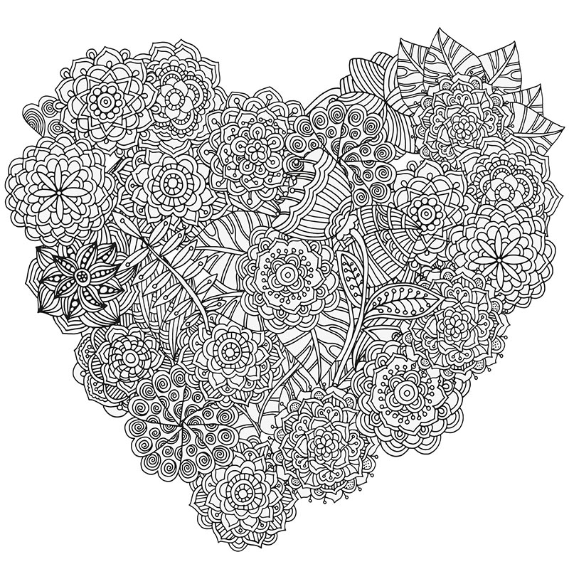 Free downloadable heart coloring design for stress relief for Stress relief coloring pages online